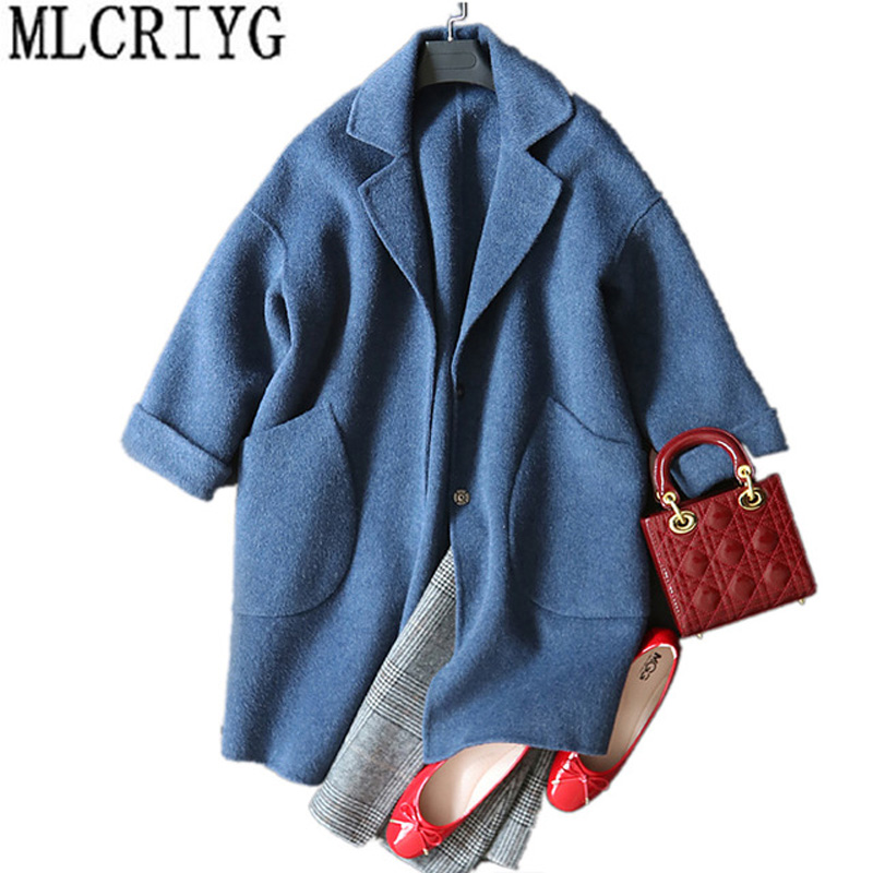 Здесь продается  Women Autumn Winter Loose Coats and jackets New 2018 Long Sleeve Wool Trench Coat Female Outwear Chaqueta Invierno Mujer LX211  Одежда и аксессуары