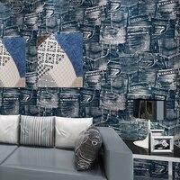 England Simulation Retro Jeans Fashion Environmental Pure Paper Wallpaper Living Room Restaurant Backdrop Papel De Parede