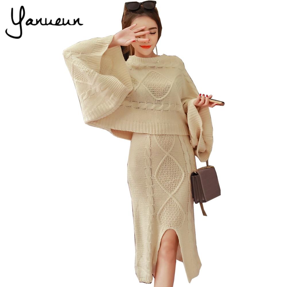 Yanueun korean fashion women 2 piece set ladies winter knitting sweater o neck batwing sleeve Mla winter style fashion set