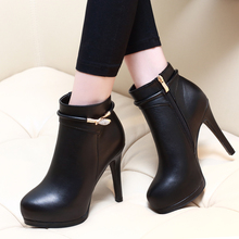 Fashion Ankle Boots Female Thin High Heels Women Autumn Winter Sexy Plush Round Toe Plus Size Shoes CH-A0015