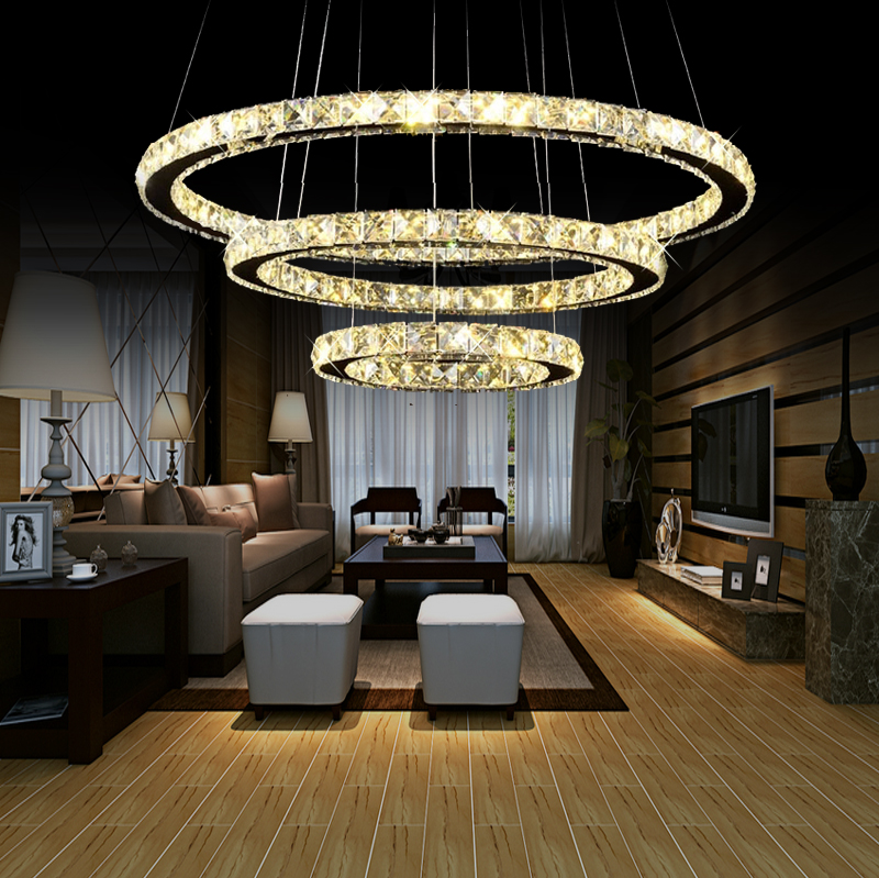 Modern Brief Restaurant Pendant Light Circle Dining Table Led Crystal Household Large Luminaire Round Combination
