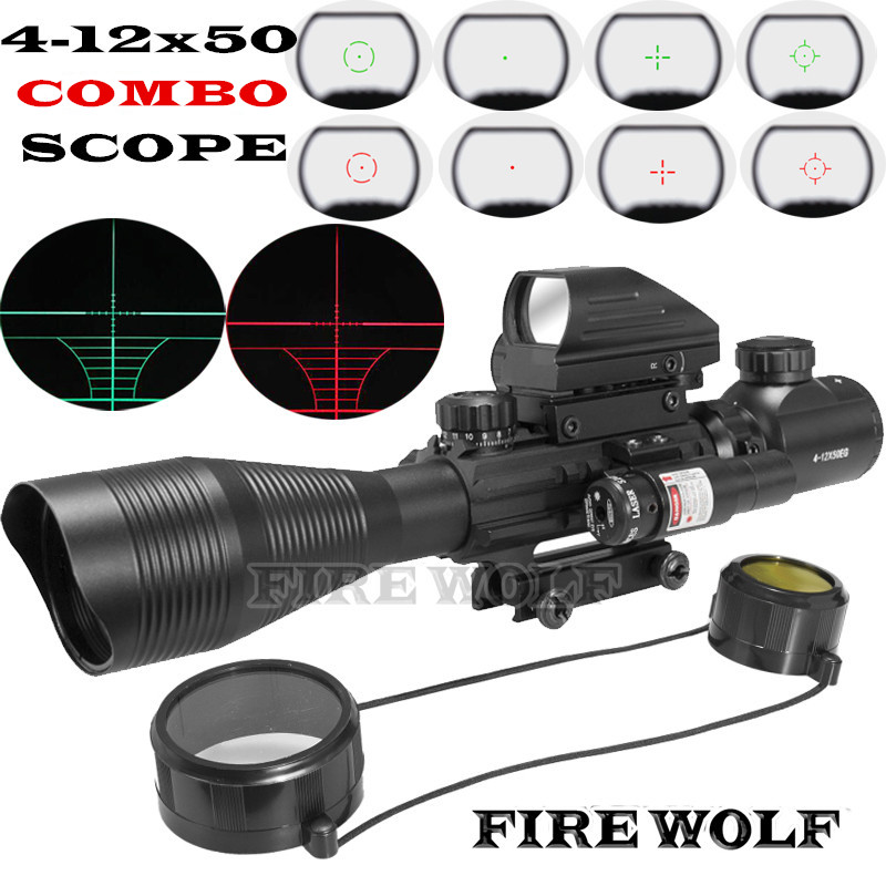 Fire Wolf 4-12x50 Illuminated Rangefinder Reticle Rifle Scope Holographic 4 Reticle Sight 11mm 20mm Red Laser Combo Riflescope