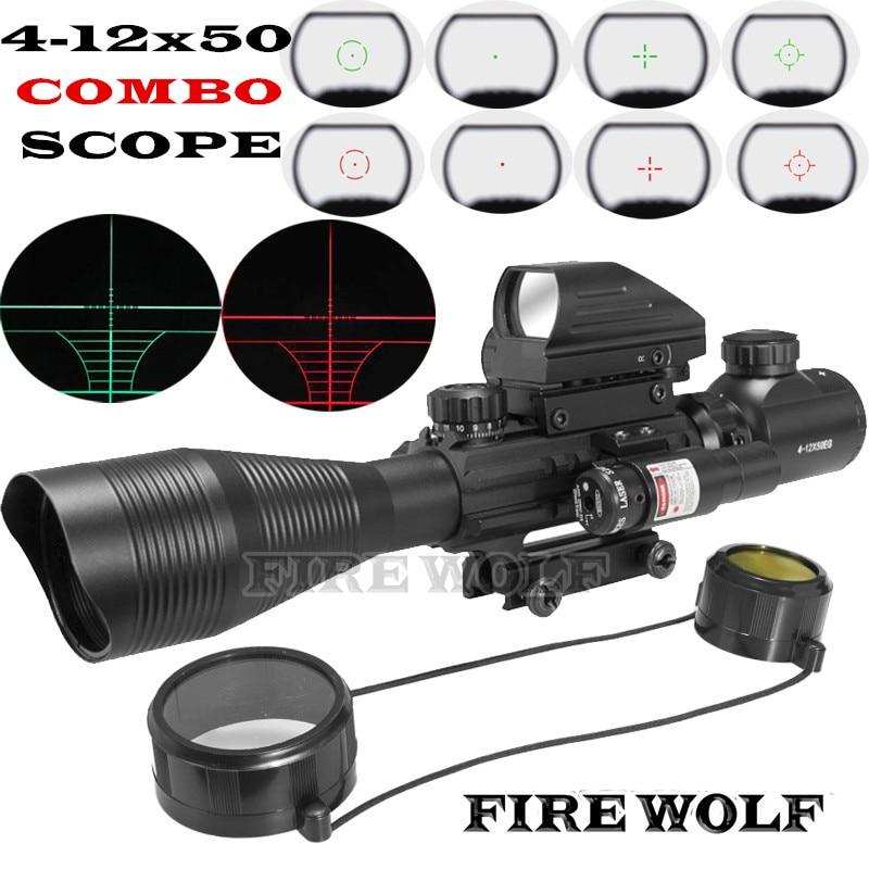Fuego Lobo 4-12x50 iluminado telémetro del retículo Rifle Scope holográfica 4 Reticle Sight 11mm 20mm Combo láser rojo Riflescope