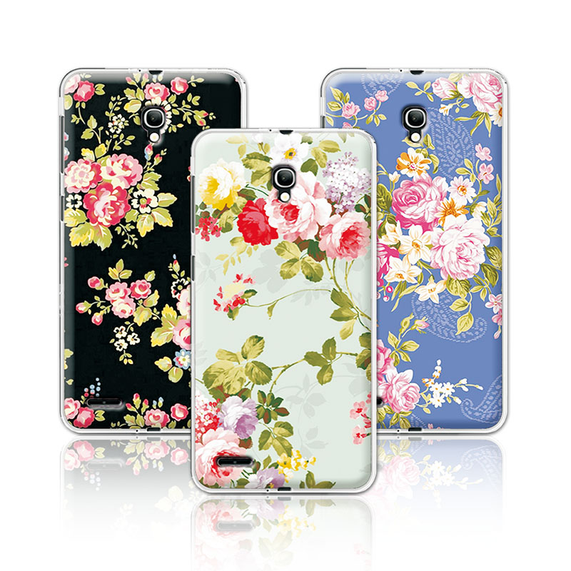 2016 Luxury Floral Art Painted Flower Case For Alcatel One Touch Pop 2 7043 <font><b>7043Y</b></font> 7043K 7044 Cover For Alcatel 7044+Free Stylus image