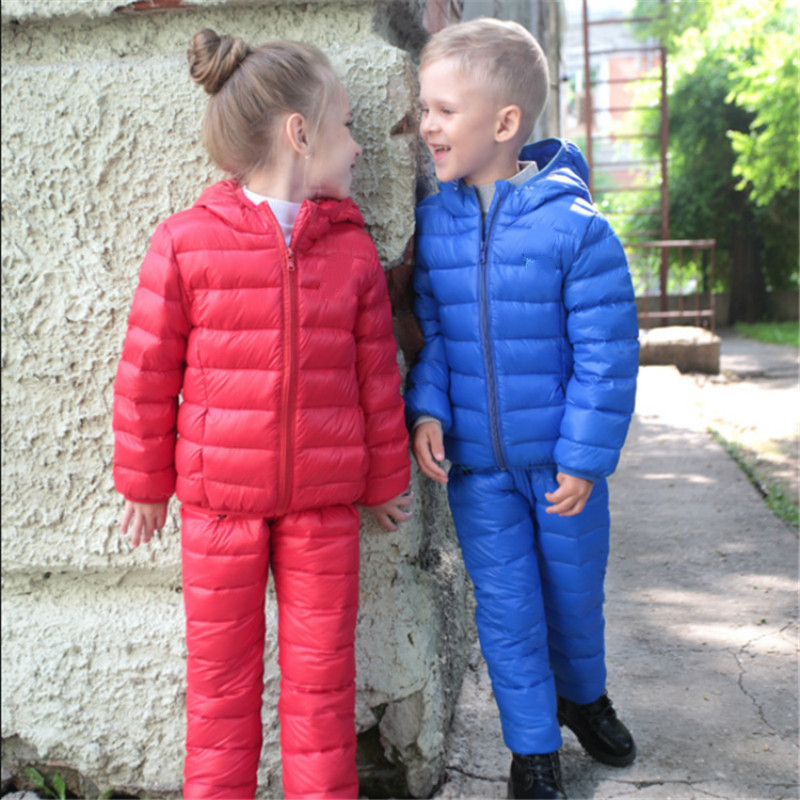 Children Down Parkas Boy and Girl Jacket and Pants 2pcs Suits Kids Fashion Thick Winter Coat Suit for Child 90-140cm kimocat boy and girl high quality spring autumn children s cowboy suit version of the big boy cherry embroidery jeans two suits