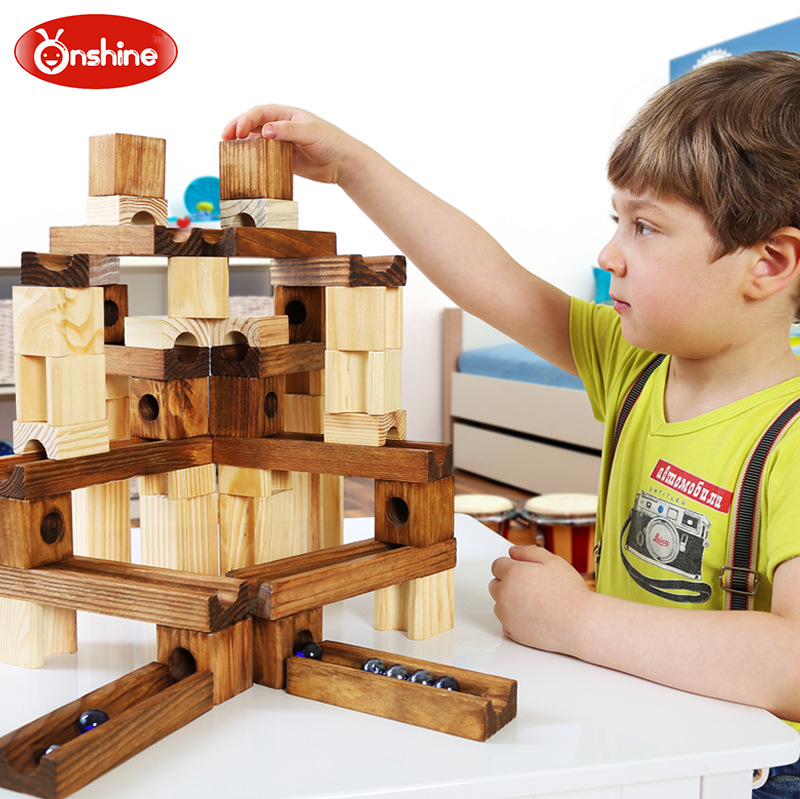 Genuine Wooden Puzzle Toy Pipe Building Blocks DIY Toy Assembled Ball Track Building Blocks bi color triangle ru bun lock children puzzle toy building blocks