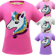 Summer 2019 New Kids Cotton Short-sleeved Unicorn Girl T-shirt Clothes Girls Tops T Shirt
