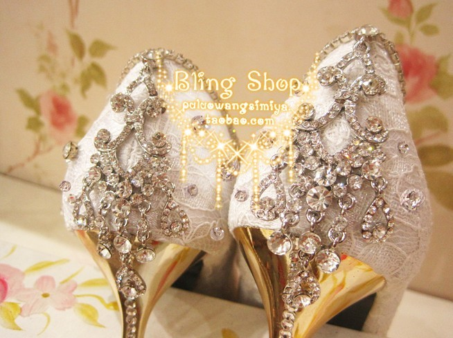 ФОТО Handmade luxury lace pointed toe bride czech rhinestone genuine leather high-heeled shoes wedding shoes crystal dinner shoes