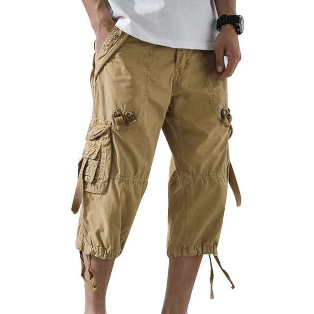 HEFLASHOR 2019 Summer Men Cargo Pants 3/4 Length Casual Workout Pants Cargo Short Pants Multi Pockets Pants Dropshipping