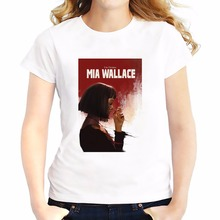 pulp fiction Mia Wallace t shirt women new summer white Tees shirt soft Breathable tshirt Short Sleeve casual T-Shirts femme
