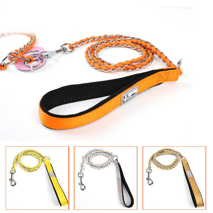 Metal stainless steel small big large dog chain Leashes with nylon handle dog puppy pitbull walking training Leash lead