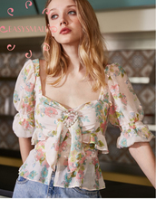 EASYSMALL Women dress Fashion Summer Sexy Strap Bow high-end streetwear Clothing tight High Waist Short Sleeve blouses
