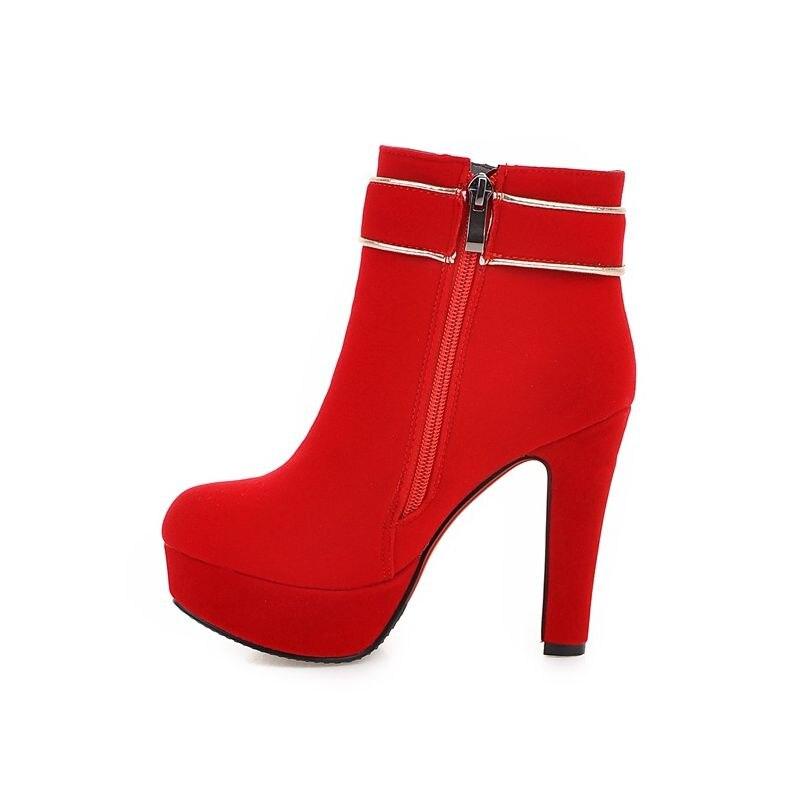 Design Hochzeit Faux Rot Braut Schuhe Schnalle Winter Nwvm8nO0
