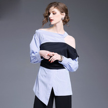 2017 Off Shoulder Women Blouses Girls Sexy Shirt Tops White Ladies Clothing Irregular Casual Boho Fashion