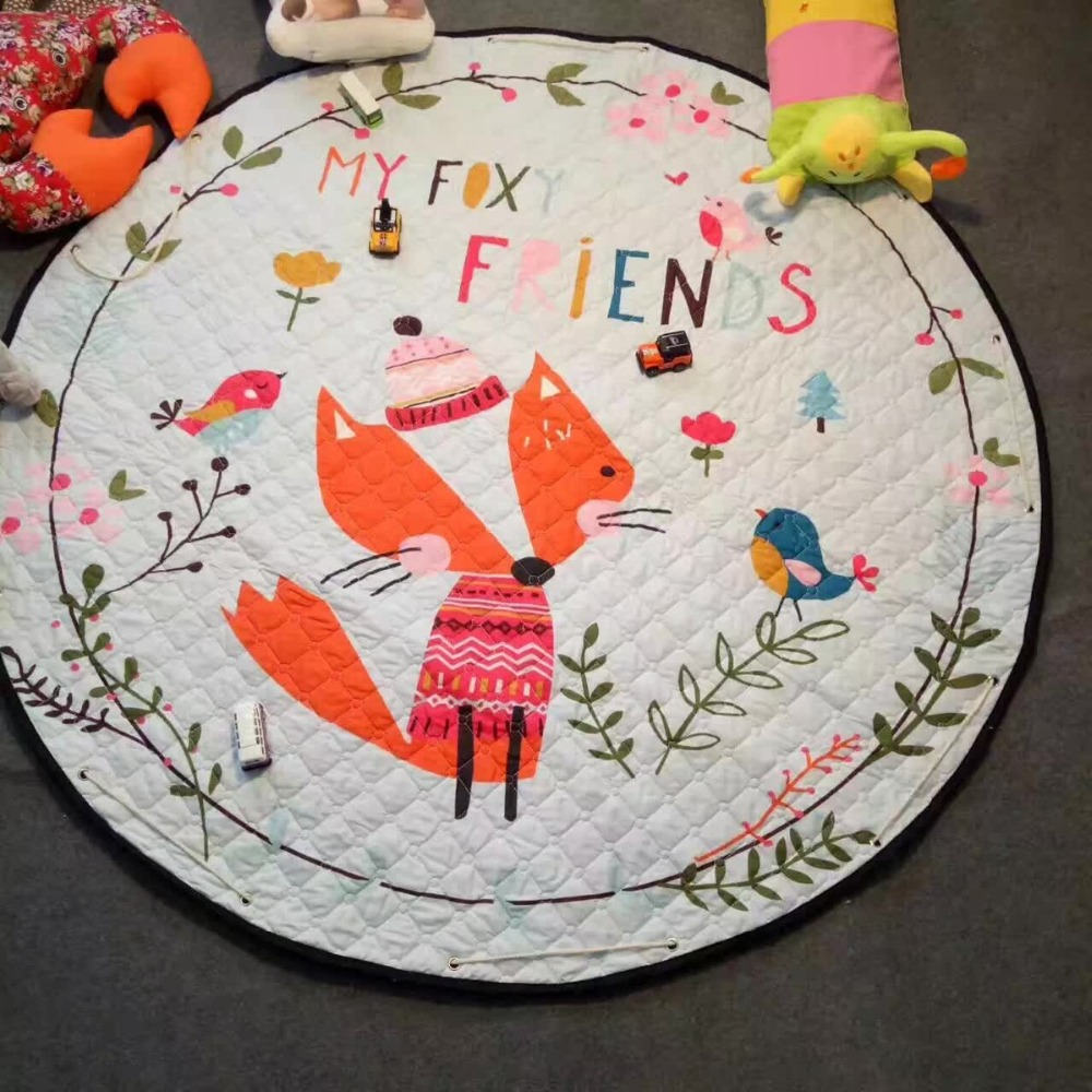 Portable Cars Fox Ainimal Game Play Mats Kids Diameter 150cm Baby Crawling <font><b>Toys</b></font> Multifunctional Cotton Round Blanket Rug Gifts