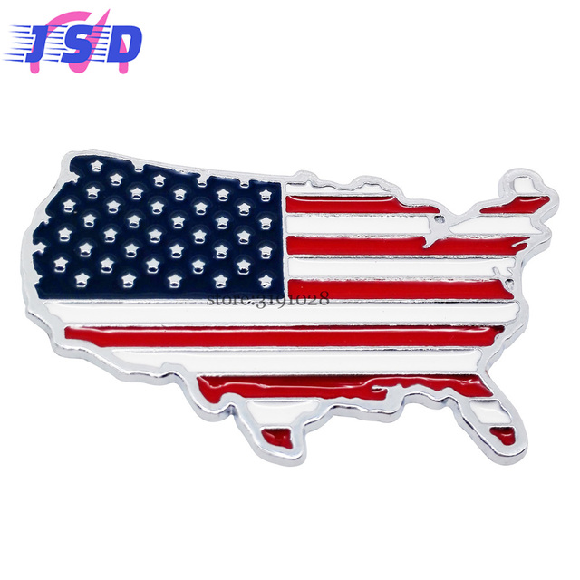 Car Accessories D Metal Emblem Stickers For The USA Flag Map Logo - Us map logo