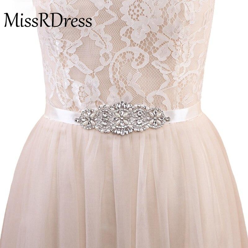 MissRDress Crystal Pearls Bridal Belt Hand Beaded Wedding Belts Silver Rhinestones Bridal Sash For Wedding Dresses JK848