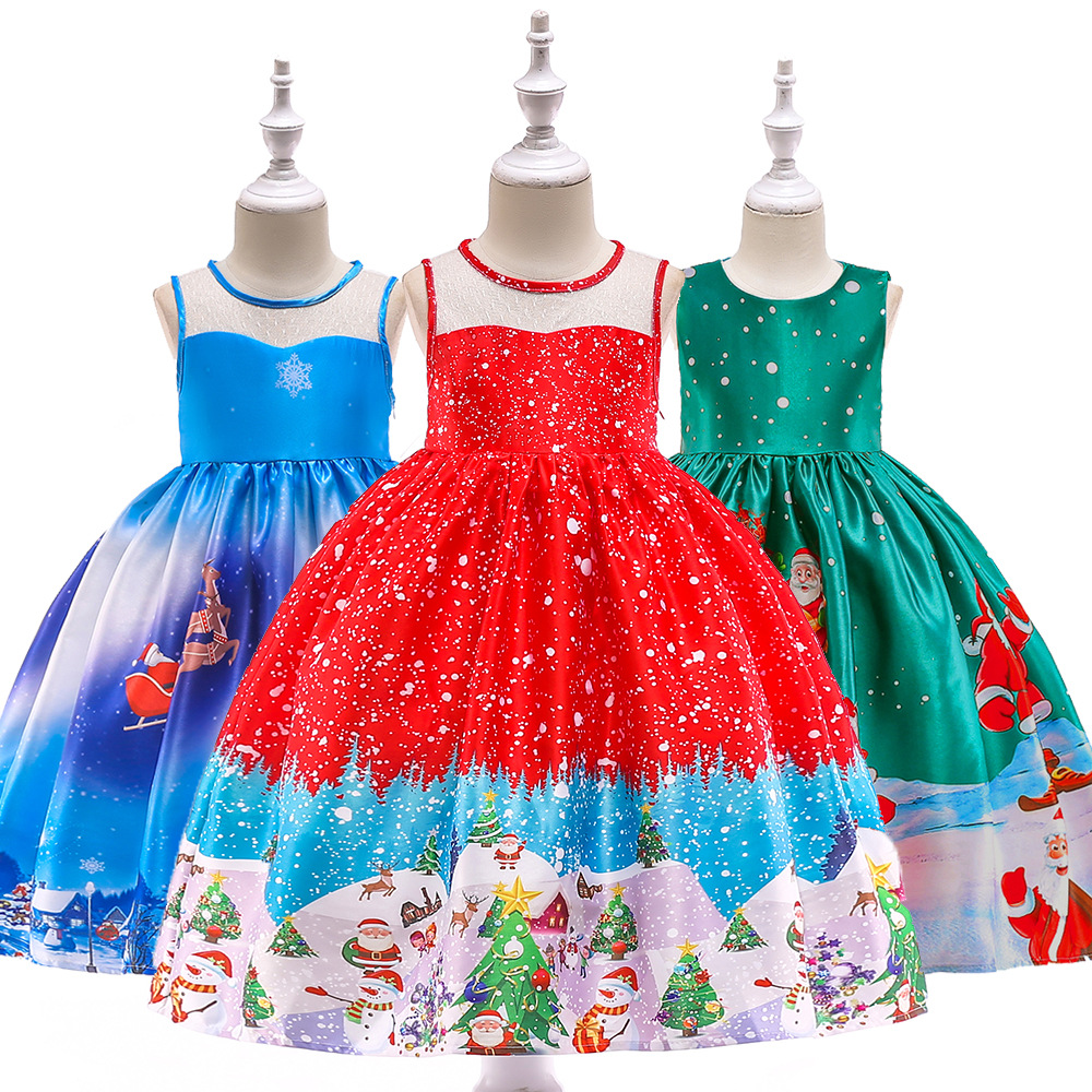 2019 Latest Design New Year Girl Christmas Dress Baby Winter Snowman Holiday Children Clothing Party Kids Santa Claus Costume Gift 3-10 Years Old