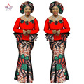 BRW Базен Riche Африканский Печати Двух Частей Установить Африканские Одежды для Женщин Dashiki Аппликации Полный Рукавом Растениеводство Юбка и Топ WY1066