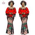 BRW Riche Bazin Africano de Impresión de Dos Piezas Ropa Africana para Las Mujeres Dashiki Appliques de La Manga Completa Camisa Corta Falda y Top WY1066