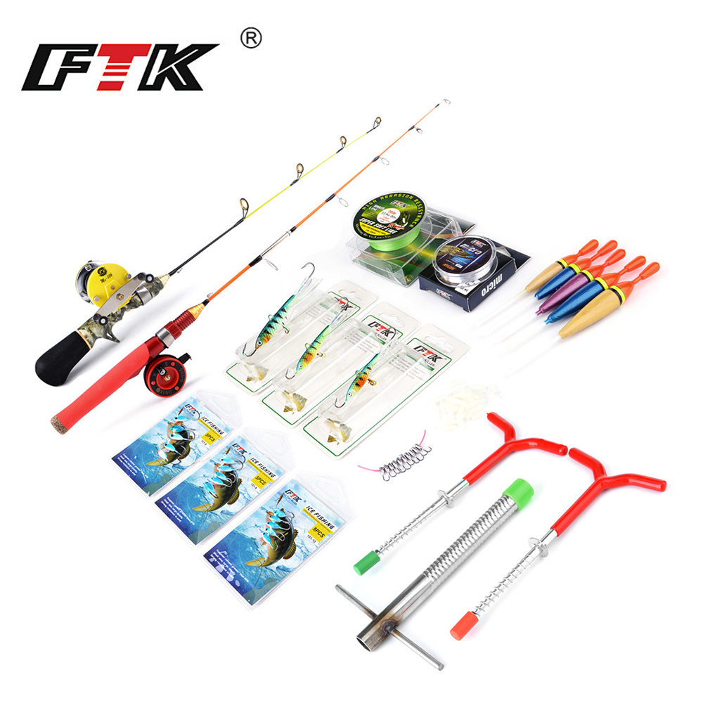 FTK Winter Ice Fishing Rod with Ice Fishing Reel Winter Ice Fishing Tackle