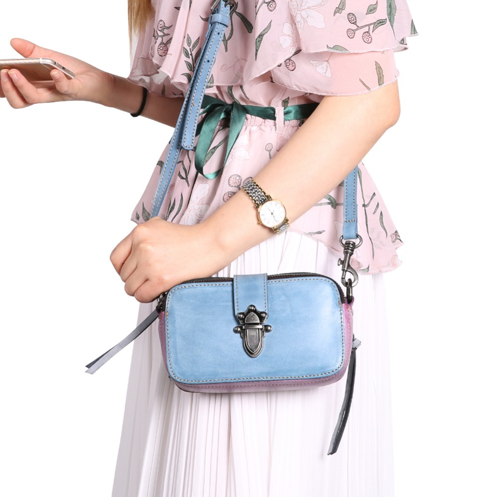 XIYUAN Women Fashion Real cowhide Leather Messenger Bag Girls blue/purple Shoulder Bag Female Small Crossbody Bag Phone PurseXIYUAN Women Fashion Real cowhide Leather Messenger Bag Girls blue/purple Shoulder Bag Female Small Crossbody Bag Phone Purse