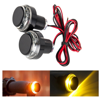2 PCS CNC Motorcycle Amber LED Handle Bar End Indicator Grip Plug Turn Signal Light FOR 22mm Handlebar
