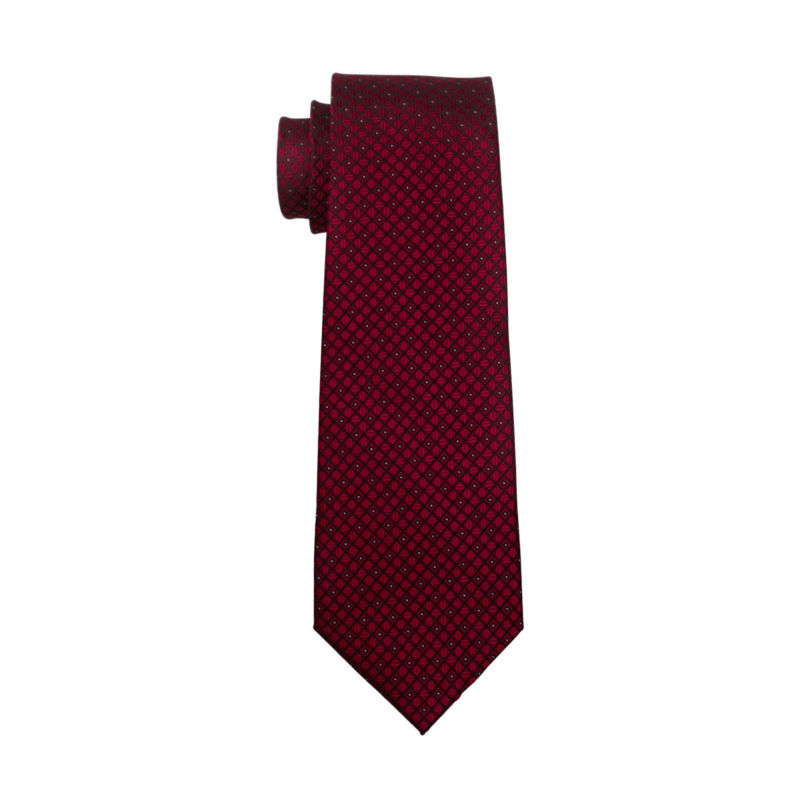 LS-704 Men`s Tie 100% Silk Red Plaid Jacquard Woven Wedding Tie Barry.Wang Hanky Cufflinks Set Neck Tie For Men Business Party
