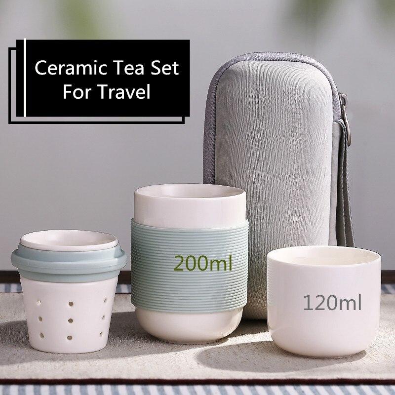 Čínský porcelánový čajový set Prenosný čajový pohár pro cestování s přenosnou taškou Vysoce černobílý cestovní čajový set Keramická láhev pro venkovní použití