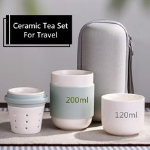 Chinese Porcelain Tea Set Portable Tea Cups For Travel with Portable Bag