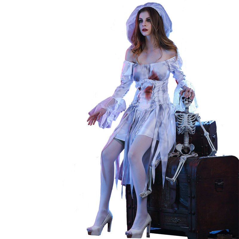 Woman's Bloodstain Terror Corpse Bride Vampire Witch Dress Costumes Cosplay For  Halloween Party Carnival DS Clubwear
