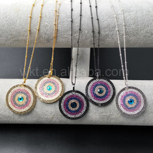 WT-N862 5pcs/lot Fashion Boho Evil Eye CZ Necklace for Women,Boho Style Jewelry CZ Micro pave 30mm round shape chain necklace