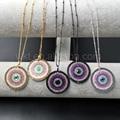 Wt-n862 5 pçs/lote boho moda evil eye colar cz para as mulheres, estilo boho jóias cz micro pave 30mm rodada forma colar de corrente