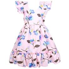 New girls flower back hollow dress fashion European and American casual show dress hollow cut insert knot back dress
