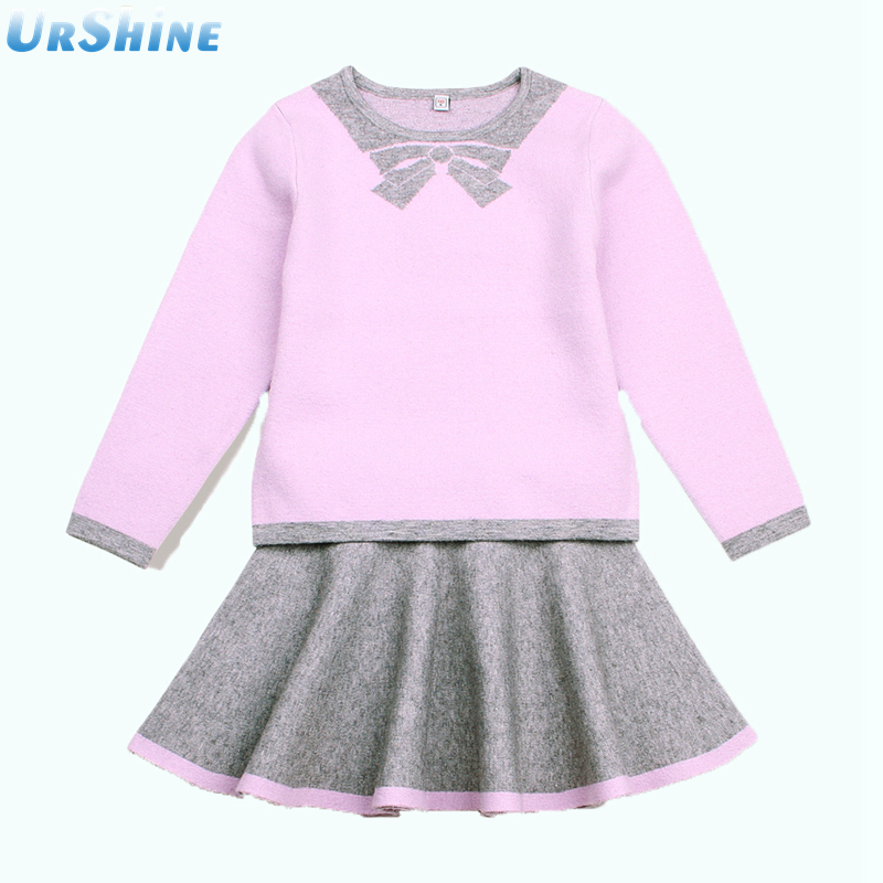 Autumn Children Kids Girls Knitting Kniwear Long Sleeve Pullover Sweater Tops Skirt Princess 2 Pics Clothing Baby Sets Suit autumn winter girls children sets clothing long sleeve o neck pullover cartoon dog sweater short pant suit sets for cute girls