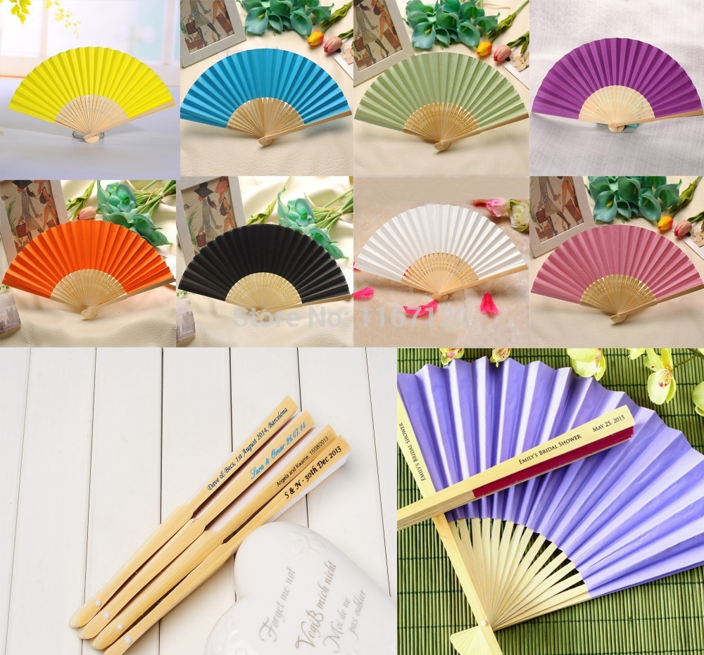 200pcs Custom Personalized Name And Date Elegant Folding Paper Hand Fan Whole Wedding Party Decoration Favors 21cm In From Home Garden On