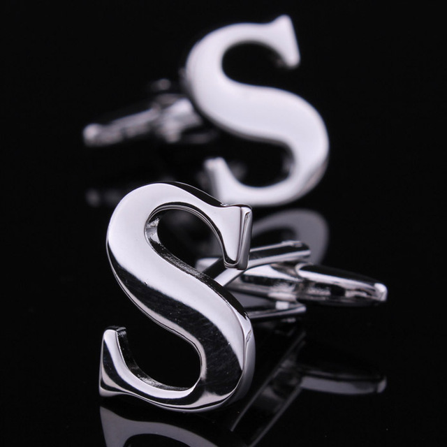 Fancy Novelty Plain Metal Letter S Shape Silver Color Cufflinks