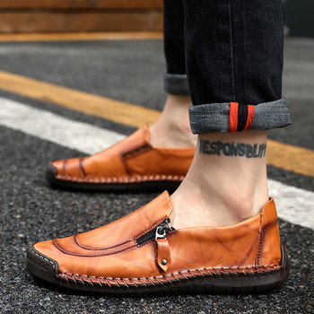 New Big Size 38-48 Men Casual Shoes Loafers Spring/Autumn Mens Moccasins Shoes Genuine Leather Men's Flats Outdoor Driving Shoes