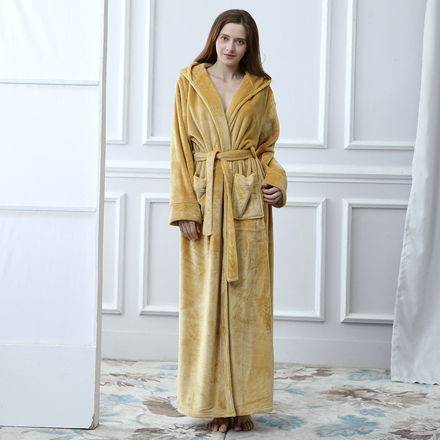 New Women s Hooded Thick Robes Soft Coral Fleece Warm Long Bathrobe Plush  Kimono Sleepwear Nightgown Winter e74579a09