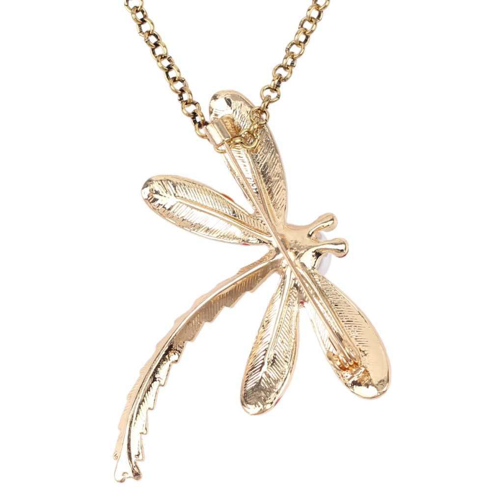 Bonsny emalia ze stopu Rhinestone kwiatowy owad ważka naszyjnik wisiorek łańcuszkowy choker Pearl nowość biżuteria dla kobiet dziewczyn nastolatek