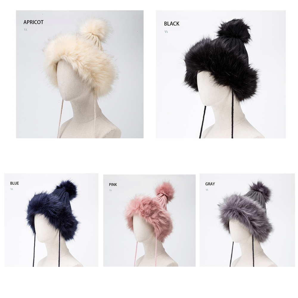 BISON DENIM Fur Pompom Hats Warm Winter Knit Beanie Caps For Women 2019 NEW Fur Bonnet Ladies Fur Cap M9493 in Men 39 s Bomber Hats from Apparel Accessories