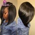10 '' - 14 '' perucas Bob cabelo humano laço completo brasileiro virgem Glueless Bob rendas frente perucas curto U parte Bob perucas para as mulheres negras