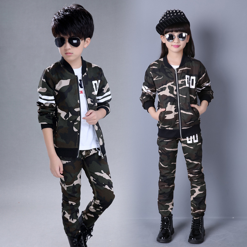 Children Clothing Sets Camouflage Kids Sports Suits Boys Girls 2017Spring Tracksuits 2pcs Casual Coat Pant Costume for boys Girl teenage girls clothes sets camouflage kids suit fashion costume boys clothing set tracksuits for girl 6 12 years coat pants