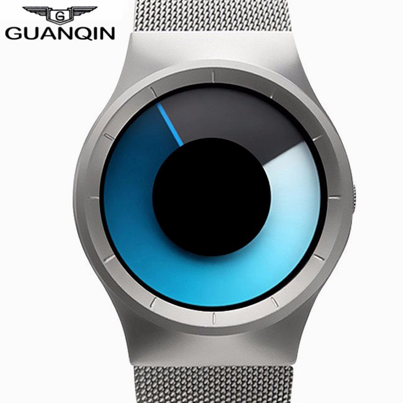 GUANQIN 2017 New Men Watch Creative Sport Stainless Steel Mesh Strap Quartz Watches Male Fashion Wristwatch Relogio Masculino weide popular brand new fashion digital led watch men waterproof sport watches man white dial stainless steel relogio masculino