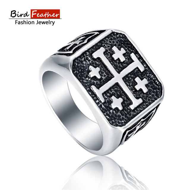 Bird Feather Stainless Steel Men Rings Punk Vintage Cross Wedding Rings For  Women Male Cool Fashion