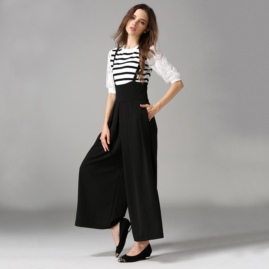 2018 Autumn Bodysuit Women Rompers Jumpsuit Sexy Fashion Wide Leg Pleated Cross Back Casual Palazzo Suspender Cropped Trousers 3