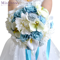 Beautiful Blue White Wedding Bouquet Handmade Artificial Lily Peony Flower buque casamento Bridal Bouquet for Wedding Decoration