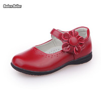 2018 Red Girls Flowers Children Genuine Leather Single Shoes For Teens Girls Kids Party Wedding Dance Princess Dress Shoes