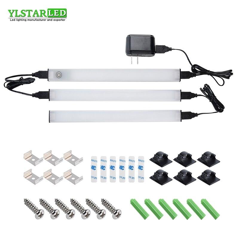 YLSTAR 3 шт./компл. 28 см SMD2835 светодиодный светильник для шкафа сенсорный Dim/PIR сенсор переключатель для под лампа для кухни, гардероба, шкафа