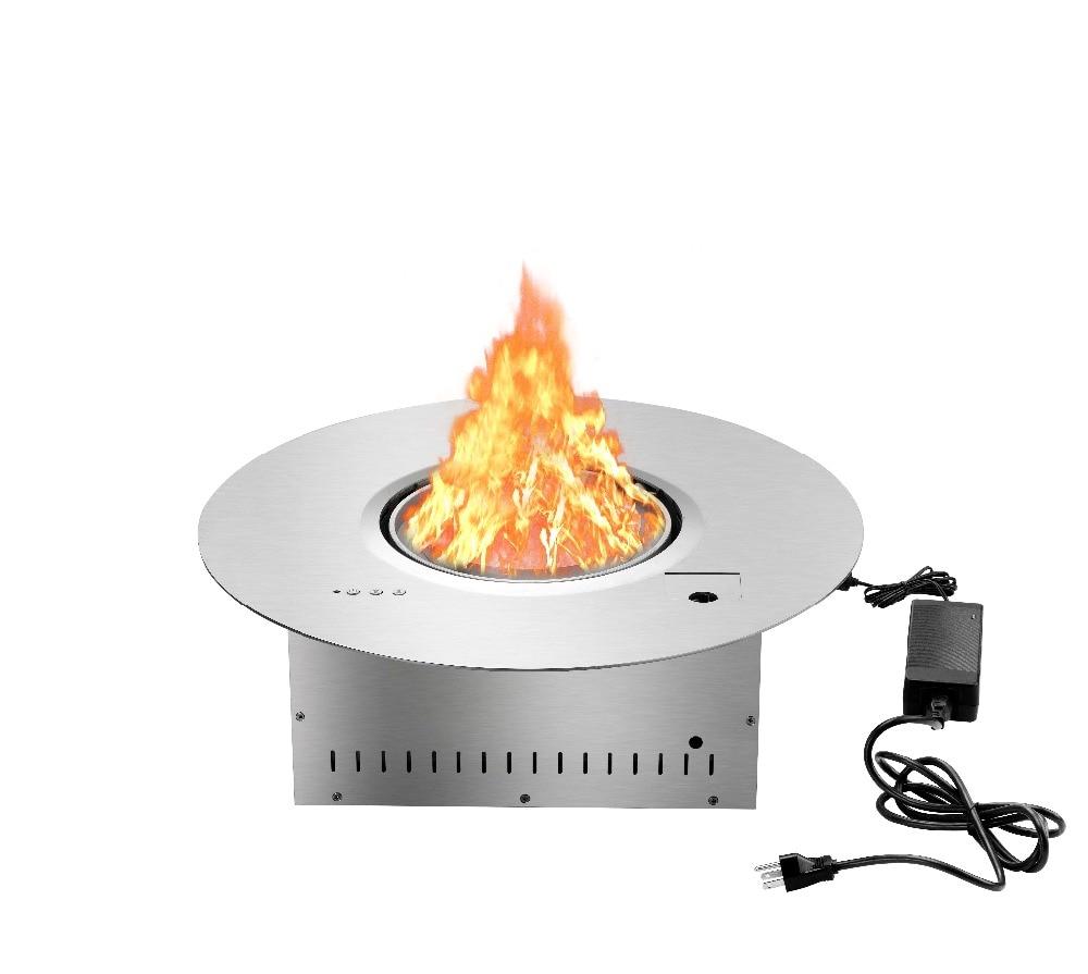 On Sale Round 21 Inch Dia Decorative Electric Fireplace Use Alcohol Burner Chimenea Black Silver  Lareira Interior